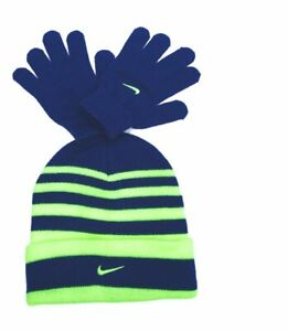 Nike Boys Swoosh Cuff Striped Knit Beanie & Gloves Set, 8/20 Gym Blue/Neon