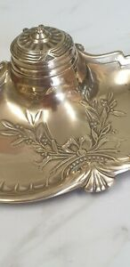 antique brass inkwell with pen rest tray