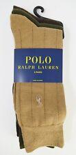 Polo Ralph Lauren Mens Dress Socks 3 Pair Pack Tan Olive Shoe Size 6 - 12.5 NEW