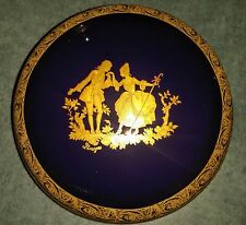 Limoges Cobalt Blue Artisanal Trinket Box France 5� Couple ~ Lovers in 22K Gold
