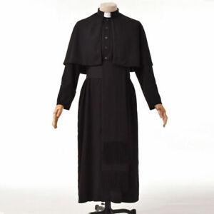 Men Clergy  Minister Robe Cassock Choir Pulpit Liturgical Vestment With Belt