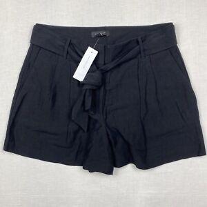 NWT Ann Taylor High Waist Tie Waist Pleated Paperbag Shorts-Black/Sz 10 (33x4)