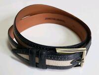 "Johnston & Murphy Canvas leather belt Men's size 40 Tan blue/purple 1.5""x48"" USA"