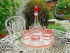 Vtg Art Deco Red Stripe Clear Glass Decanter Shot Glasses & Tray Set Retro