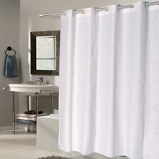 "EZ On White Check Fabric 70""x75"" Hookless Shower Curtain/Liner"