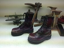 SHELLY'S OF LONDON BURGUNDY DISTRESSED LEATHER COMBAT LACE UP ARMY BOOTS 5-6 M