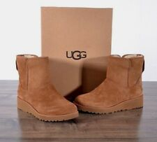 UGG Australia Kristin Suede Sheepskin Boots 6 MED 1012497 Chestnut Boot Wedge