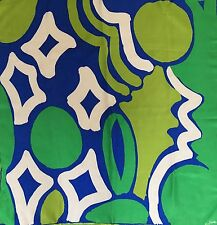 VTG 60s Vera Mod Abstract Groovy Silk Scarf Green Blue Gold Piece Collection