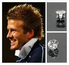 Men's Boys White Gold Plate Beckham Magnetic Designer 8mm Crystal Round Earrings