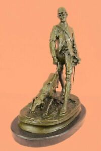 Art Deco Handmade Hunter With his Dog Bronze Sculpture Home/Cabin Figure Artwork