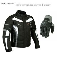 Motorcycle Textile Jacket Touring Waterproof Coat Motorbike Racing Summer Gloves
