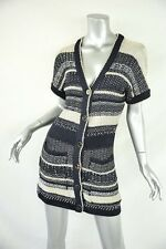 OSCAR DE LA RENTA Navy+Metallic Silver Stripe SILK Knit Dress/Cardigan/Sweater M