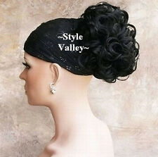 Short Jet Black Ponytail Hairpiece Extension CURLY Clip on Hair Piece Beautiful!