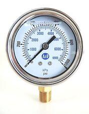 NEW Pressure Gauge Liquid Filled 0 - 1000 psi 6900 kpa Air Water Guage Gage AIP