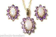 9ct Gold Opal and Amethyst Pendant and Earring Set Made in UK Gift Boxed