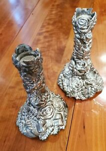 Pair of ROSE Candlesticks 5 inches tall many pewter roses - Pewter