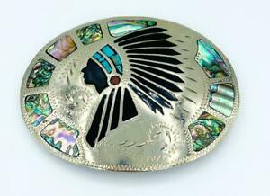 Johnson Held Native American Chief, Onyx, Coral & Abalone Inlay Buckle