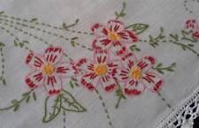 """Vintage Linen Table Runner Set Pink Hand Embroidered Flowers 34"""" Dresser Scarf"""