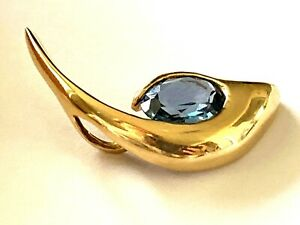 Hallmark Gothic 14K Yellow Solid Gold Synthetic Blue Spinel Free Form Pendant