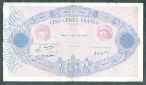 RARE BILLET DE 500 FRANCS BLEU ET ROSE 1923 TB