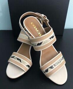 Brand New Coach Women's Princeton Mat CLF/MAT CLF Heel Sandals Snake skin Chalk