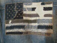 Denim Supply Ralph Lauren Mens Blue Distressed Flag Patch Jean Trucker Jacket M