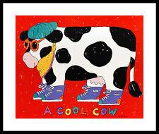 Coco dowley COOL COW poster stampa d'arte immagine con cornice in alluminio in nero 50x60cm