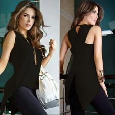 Damen Split Cross Tops Asymmetrisch Lang Sexy T-shirts Ärmellos Bluse Shirt Büro