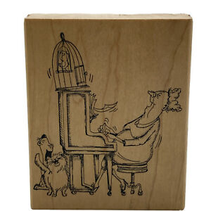 Vintage Cat Lady Playing Piano w/ Bird Rubber Stamp Art Impressions Rare 1996