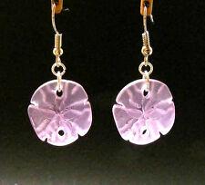 BWT- SANDDOLLAR Sea Glass Shell Earrings- Erg1345 PINK - Nautical - Beach
