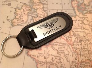 BENTLEY ETCHED INFILLED BLACK LEATHER KEY RING FOB SPUR CONTINENTAL GT BENTAYGA