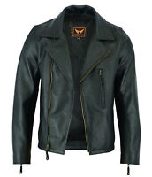 Mens Classic Vintage Genuine Top-Grain Cowhide Biker Leather Jacket