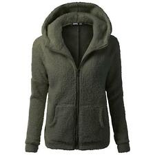 Korea Women Fur Coats Jackets Winter Warm Hooded Zipper Casual Long Sleeve green
