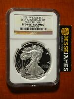 2011 W PROOF SILVER EAGLE NGC PF70 ULTRA CAMEO ER FROM 25TH ANN SET BROWN LABEL