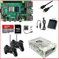 Raspberry Pi 4 (1GB) Starter Kit Power Supply Acrylic Case Fan 128GMicro-SD HDMI