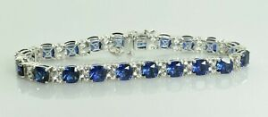 """EMA Blue and White Sapphire Tennis Bracelet in Sterling Silver 7.25"""""""