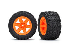 """Mounted Tires Talon Extreme Wheels 2.8"""" (2) Rustler 4X4 Orange Traxxas TRA6773A"""