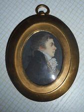 MINIATURE ANCIENNE. XVIII°.Portrait d'un jeune homme.