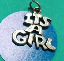 P24 Its A Girl Sterling Silver Vintage Bracelet Charm