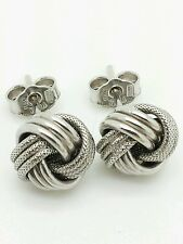 14k Italian White Gold Love Knot Stud Earrings Italy 9mm