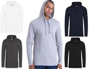 AWDis Men Toodie Slim Fit T-Shirt Casual Lightweight Plain long Sleeve Hoodie