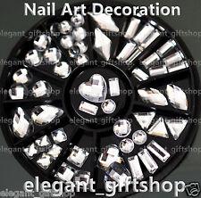 #ER58 Acrylic Nail Art Decoration 8 Style White Resin Glitter Rhinestone + Wheel