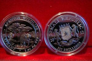 2012 Somalia African Wildlife Elephant  w/Dragon Privy 1 oz .999 Silver BU Coin