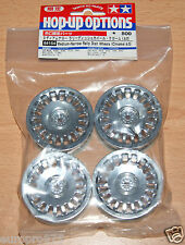 Tamiya 84154 Medium-Narrow Rally DISH WHEELS (Chrome/± 0) (TA06/TB03/TB04), Nuovo con imballo