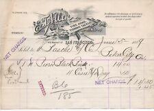 Graphic 1889 Billhead E.T. Allen Importer Firearms, Fishing Tackle San Francisco