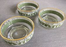 Vintage Glass Bowls, Green, 4.5 Inch Diameter