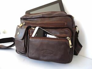 GENUINE Leather Bag for man Business case crossbody retro body brown classic new