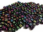 200pcs 6mm Alphabet CUBE Acrylic Beads - BLACK with Assorted Color Letters
