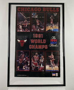 Chicago Bulls 1991 NBA World champs Starline poster with Michael Jordan