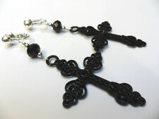 A PAIR OF LONG CRYSTAL & BLACK CROSS CRUCIFIX GOTH  MADONNA CLIP ON EARRINGS